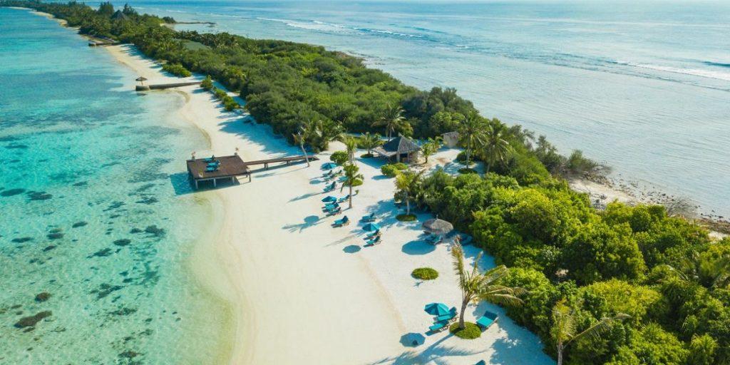 aerial view of maldives resort