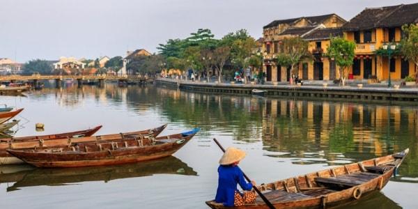 woman on river in vietnam